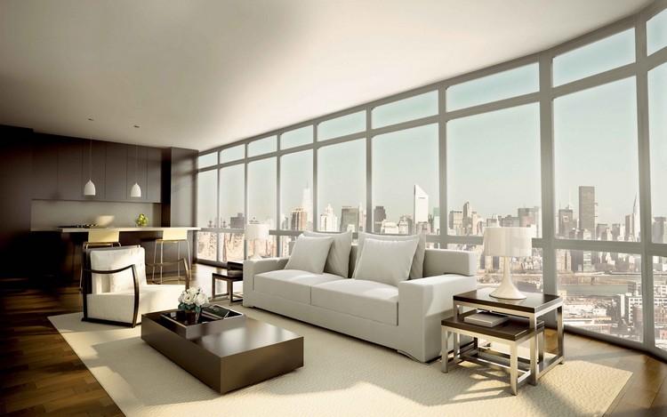 Прямоугольная комната больших размеров с приятным дизайном