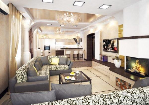 Расстановка мебели в просторном прямоугольном зале