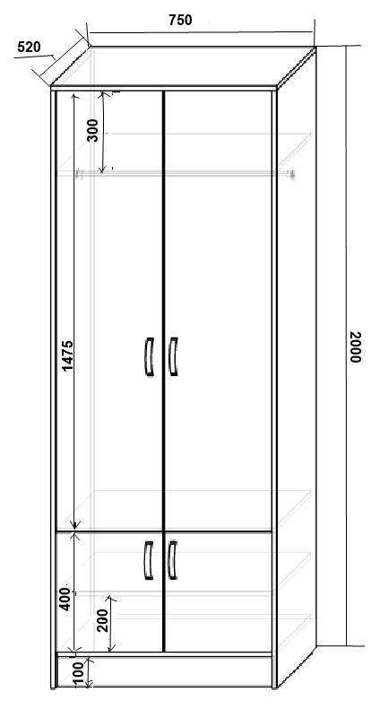 Шкаф двухстворчатый размеры