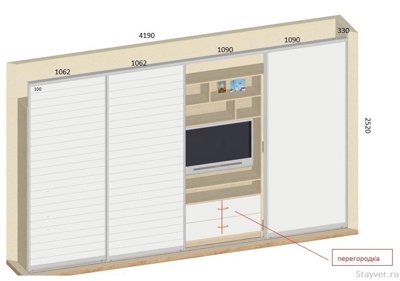 Шкаф купе 4 метра с нишей