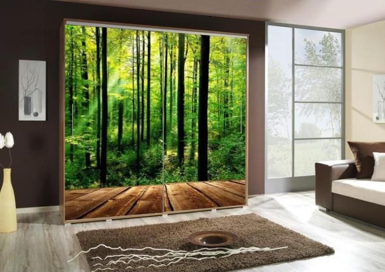 Шкаф купе с фотопечатью Зеленый лес