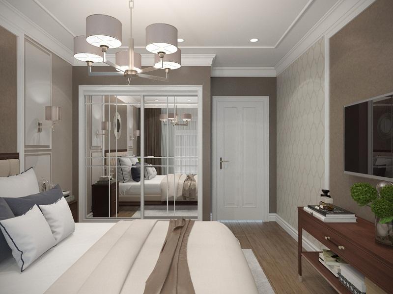 Шкаф с зкаркалами в спальне