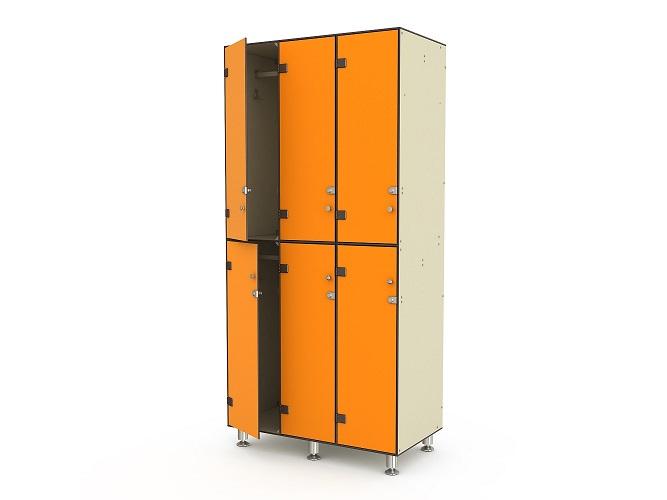 Шкаф трехсекционный двухъярусный