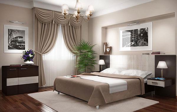 Серые оттенки интерьера спальни