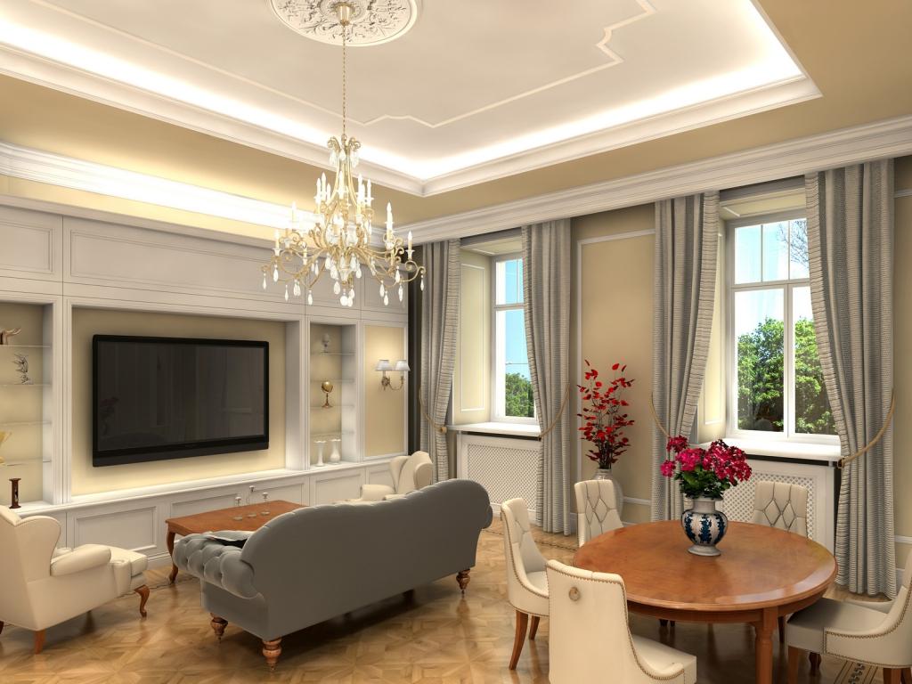 Серые шторы акутальны для гостиной комнаты