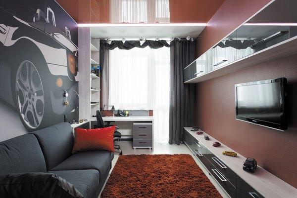 Серые тона интерьера комнаты