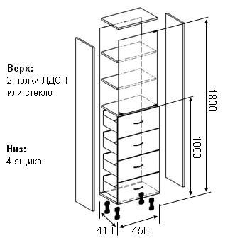 Схема медицинского шкафа с размерами
