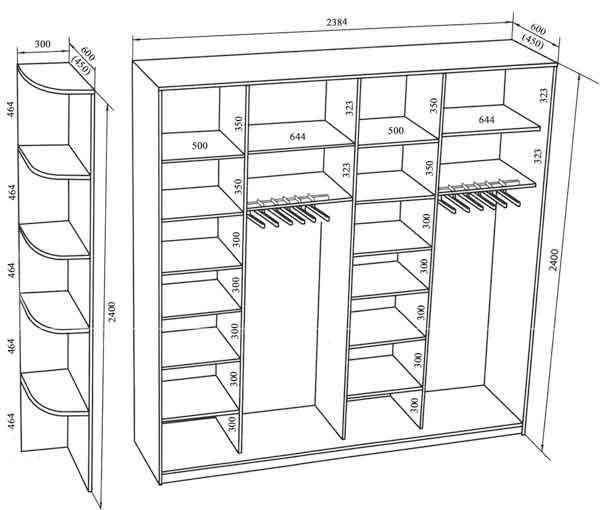 Схема размеры шкафы купе