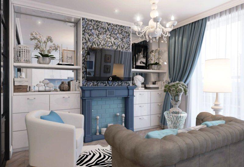 Синие оттенки зала в частном доме