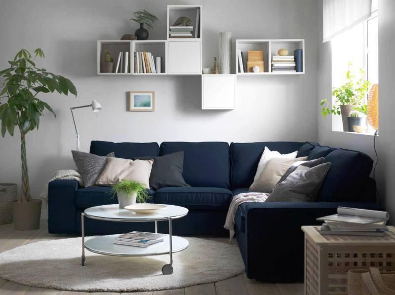 Синий красивый угловой диван