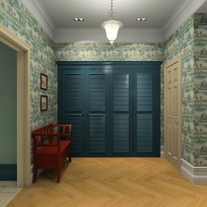 Синий шкаф в прихожей
