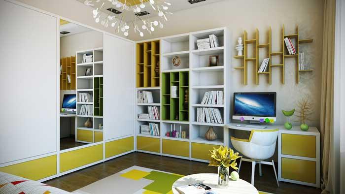 Современный дизайн небольшой комнаты для подростка