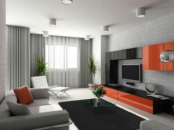 Современный стиль оформления гостиной