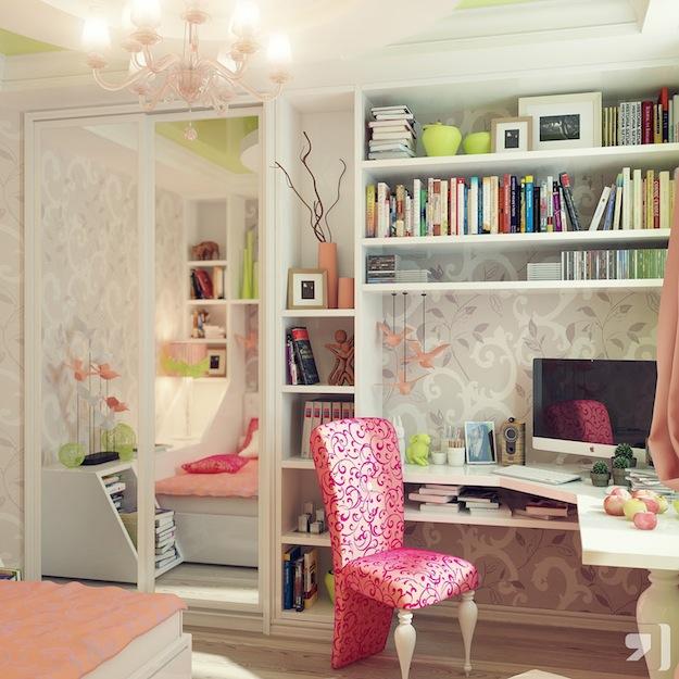 Спальня девочки-подростка в розовых тонах