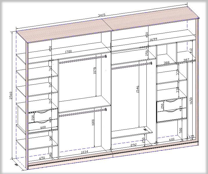 Шкафы купе размеры схема 71
