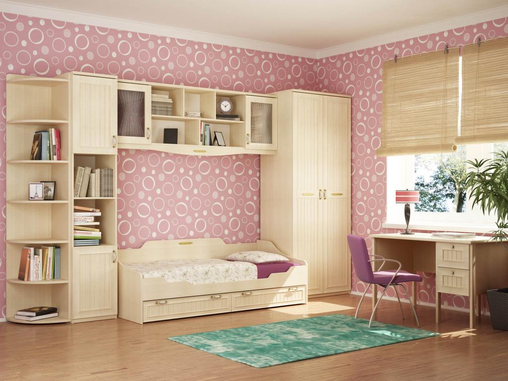 Стенка со встроенной кроватью для девочки