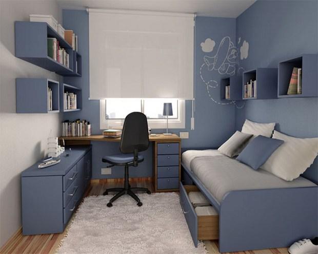 Стены синего цвета в комнате