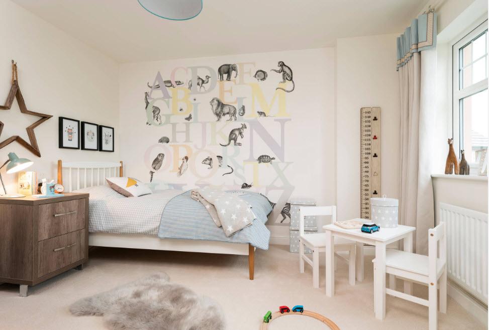 Светлый дизайн детской комнаты