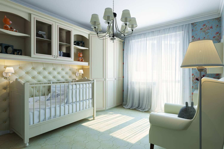 Светлый интерьер детской комнаты для новорожденного