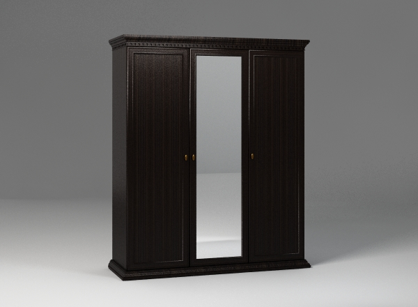 Темный шкаф с зеркалом
