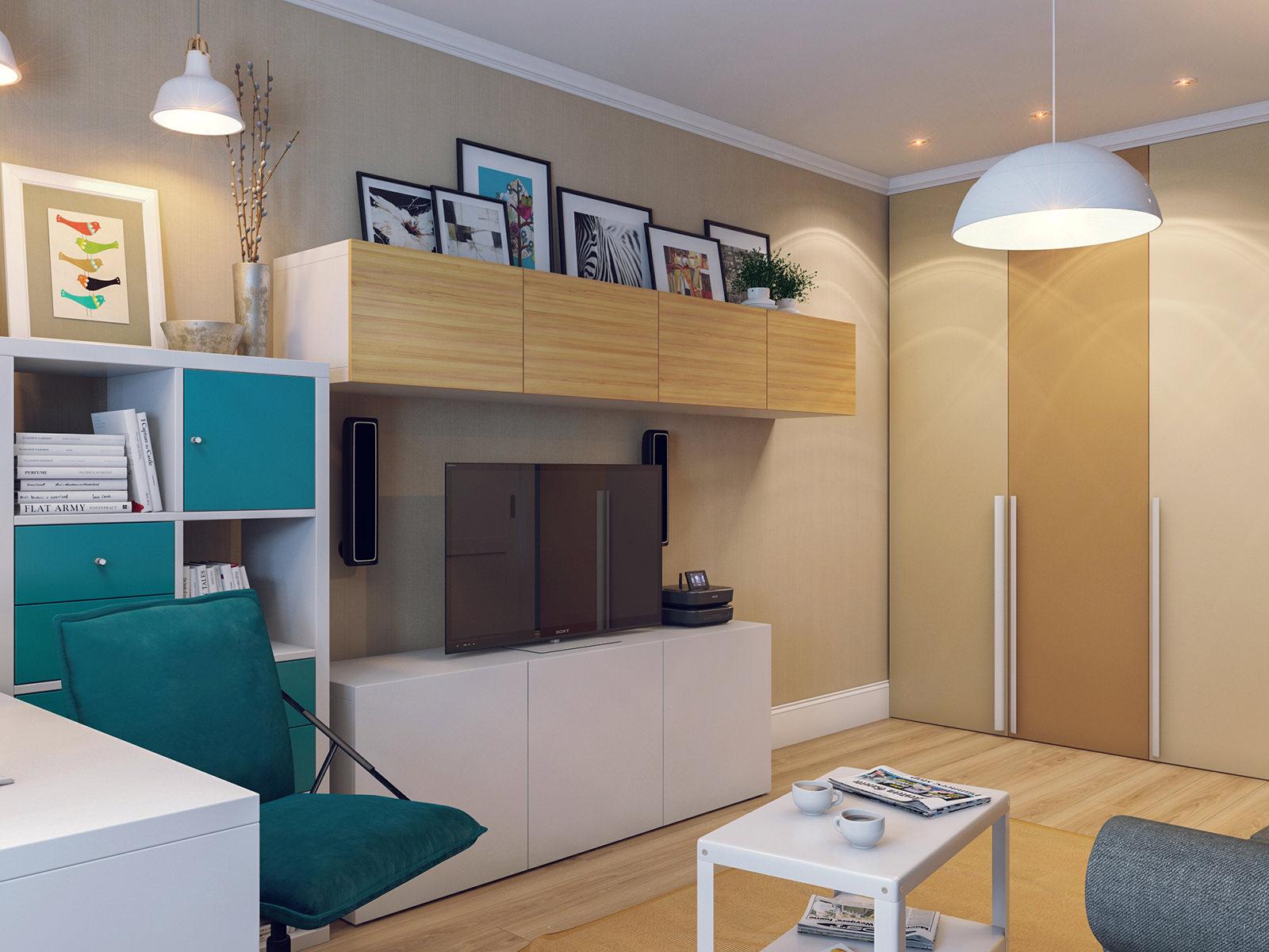 Удобный интерьер гостиной 18 кв. м