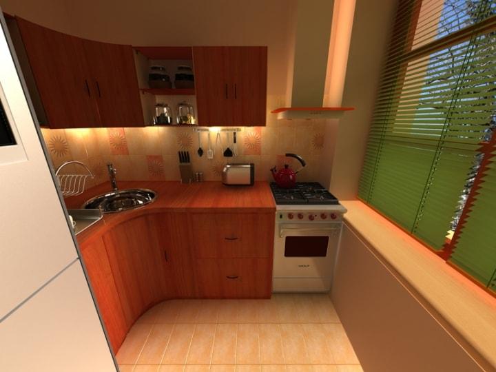 Угловой кухонный гарнитур в однушке
