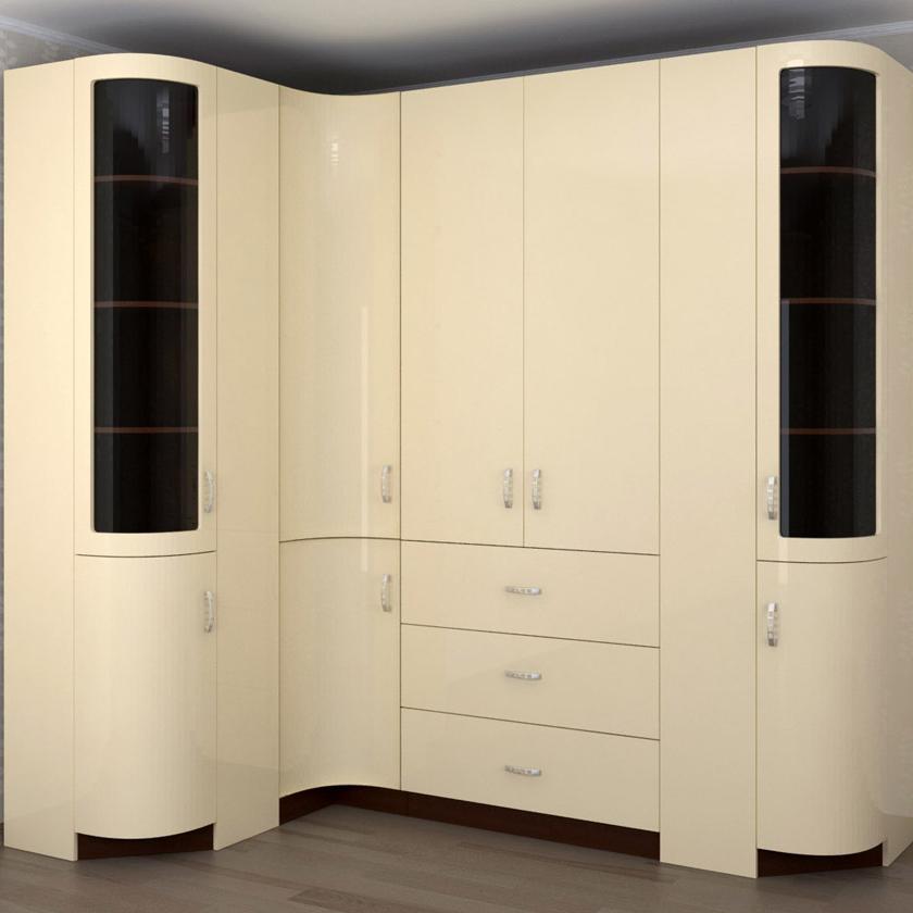 Угловой распашной шкаф с радиусными дверями