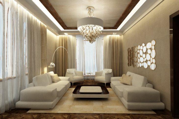 Уютный современный дизайн гостиной