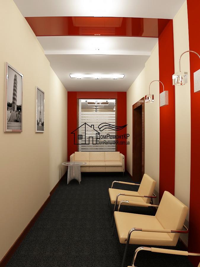Узкая комната с приятным оформлением