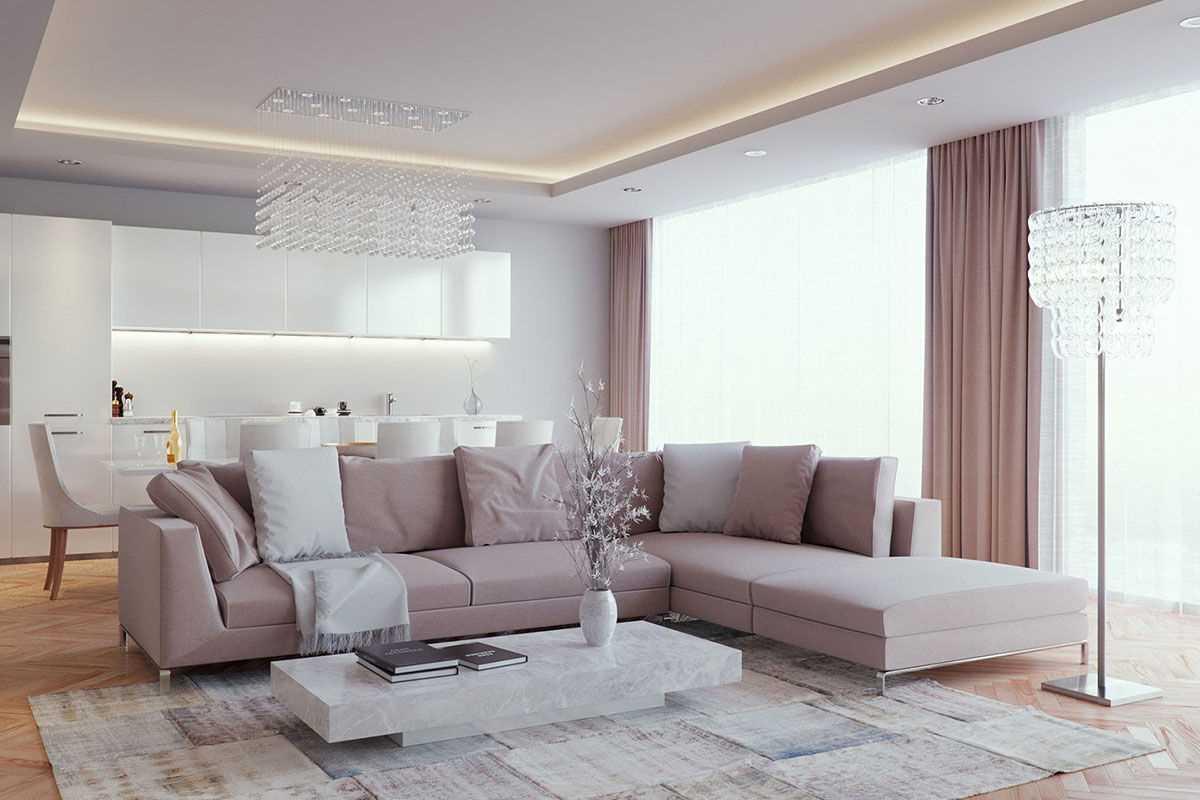 Вариант красивого дизайна гостиной 2018