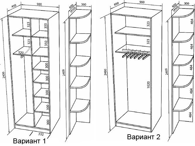 Варианты шкафов