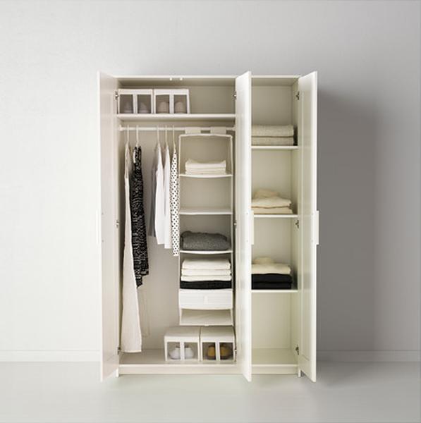Внутреннее наполнение трёхстворчатого шкафа
