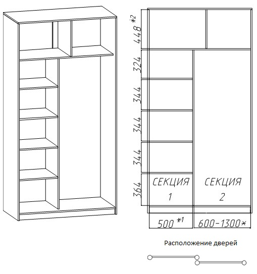 Внутренние размеры 2-дверных шкафов-купе