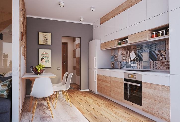 Встроенная кухня в однокомнатной квартире