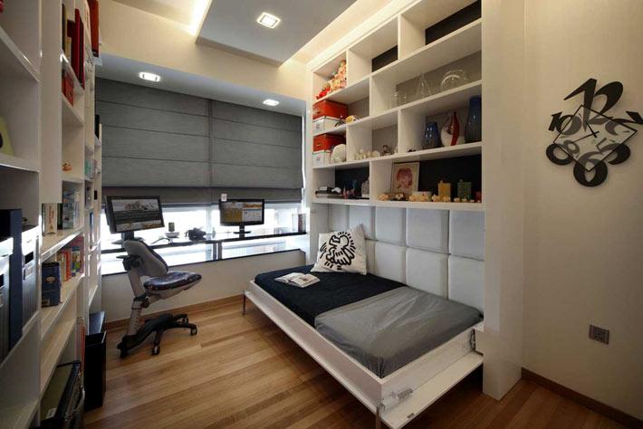 Встроенная односпальная кровать для подростка