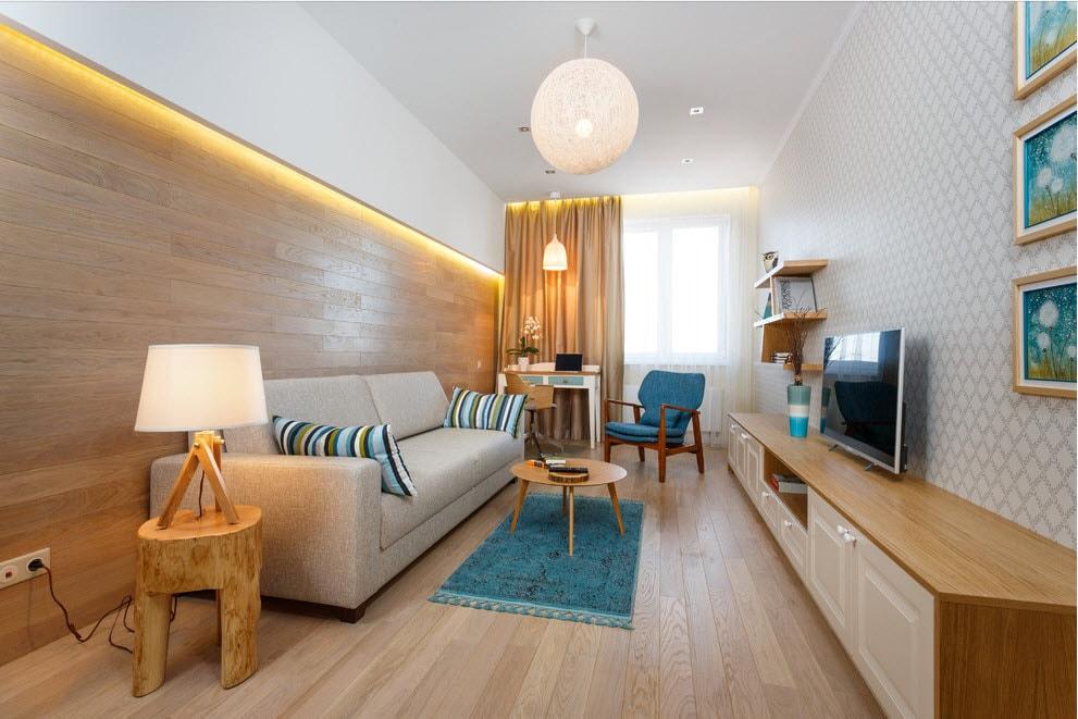 Вытянутая прямоугольная гостиная