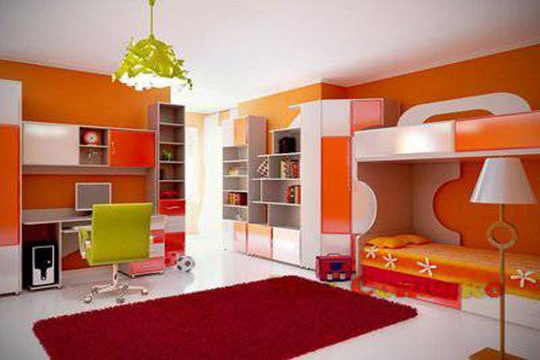 Яркие оранжевые цвета в интерьере