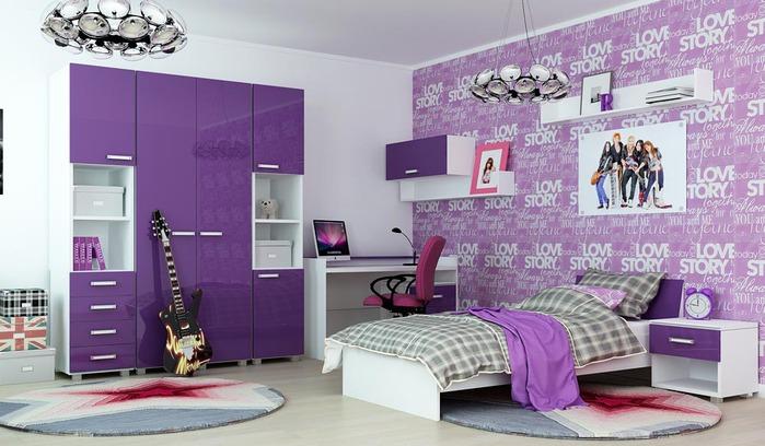 Яркое оформление спальни для подростка