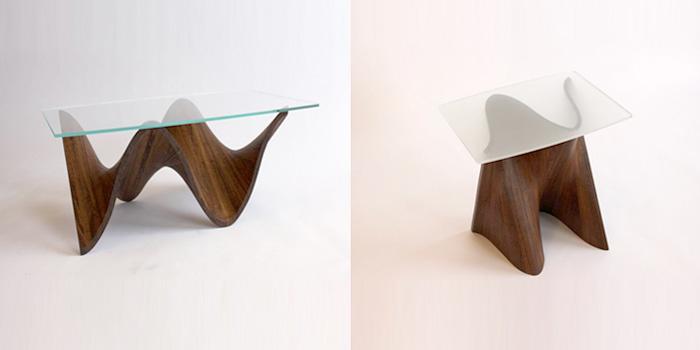 Журнальный столик из стекла из дерева