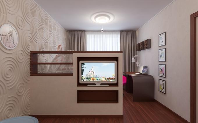 Зонирование комнаты стеллажами