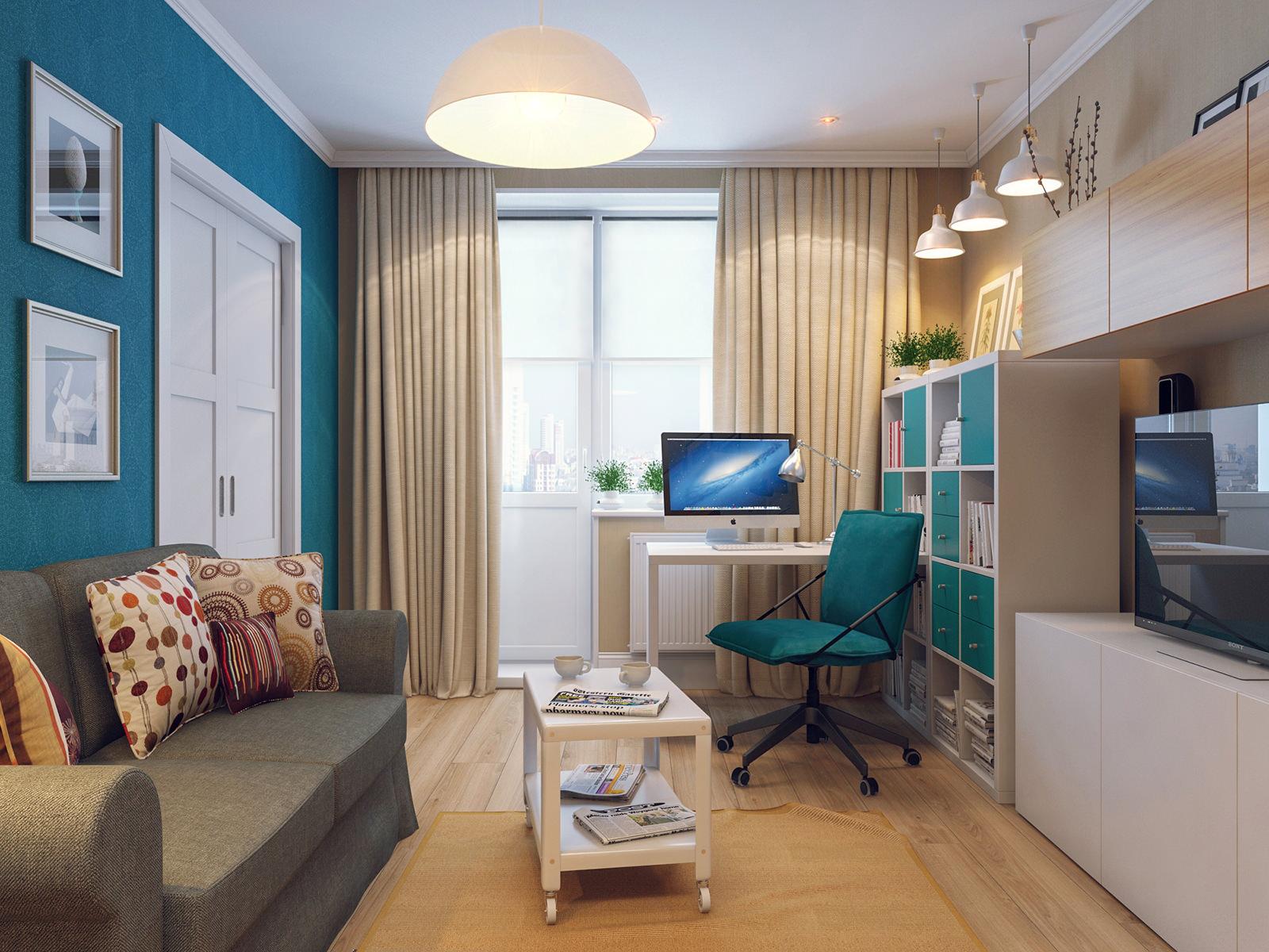 Интерьер гостиной с рабочим местом