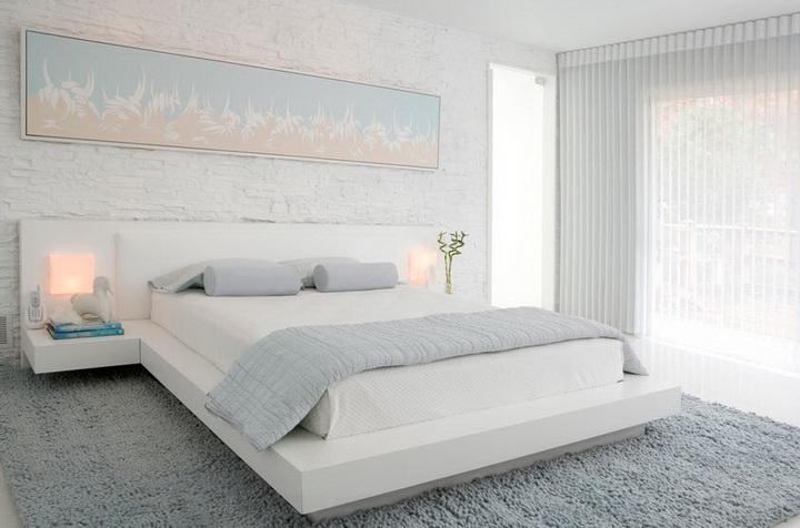 Белоснежные тона мебели для спальни