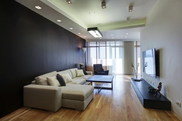 Бежевая и черная мебель в стиле минимализм в гостиной