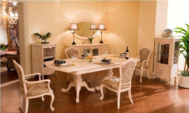 Бежевая мебель для столовой комнаты