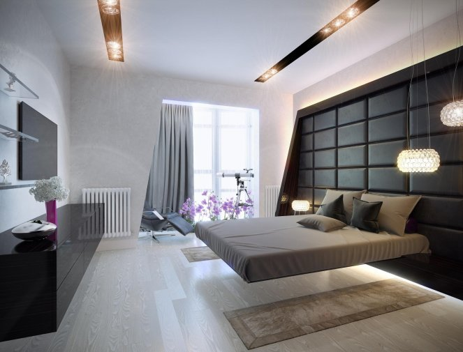 Бежевый цвет мебели в спальне