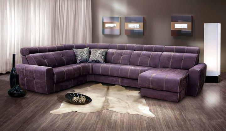 Большой фиолетовый диван для гостиной комнаты