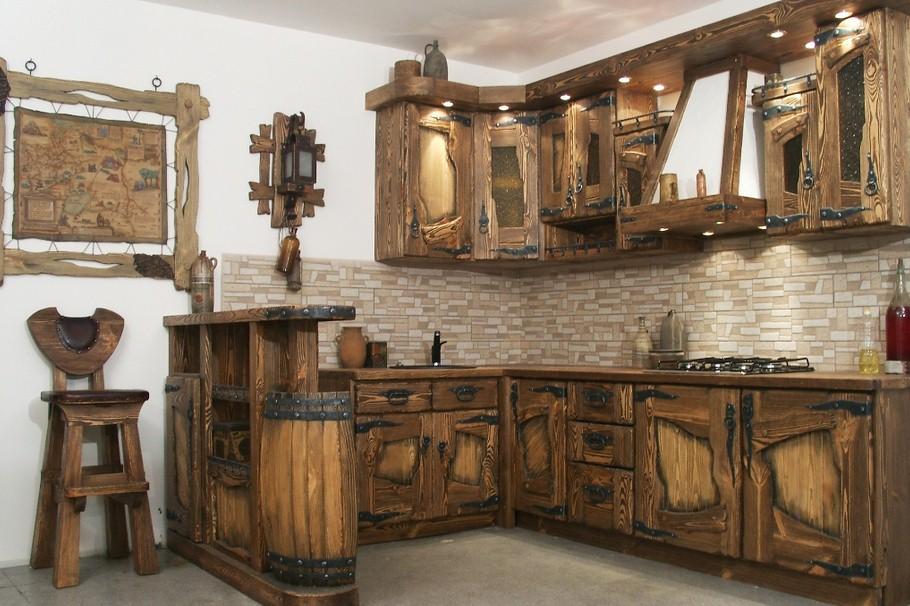 Брашированние кухонного гарнитура под старину