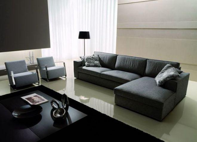 Черый угловой диван в минималистическом стиле