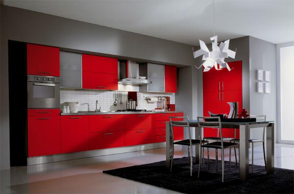 Декор красной кухни