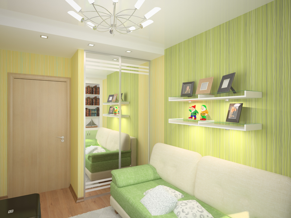 Дизайн маленькой комнаты зеленого цвета
